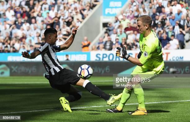 Joe Hart of West Ham United saves from Ayoze Perez of Newcastle United during the Premier League match between Newcastle United and West Ham United...