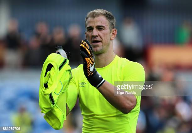 Joe Hart of West Ham United shows appreciation to the fans following the Premier League match between Burnley and West Ham United at Turf Moor on...