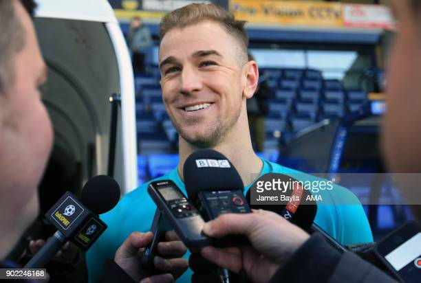 Joe Hart of West Ham United talks to the media after The Emirates FA Cup Third Round between Shrewsbury Town and West Ham United at New Meadow on...