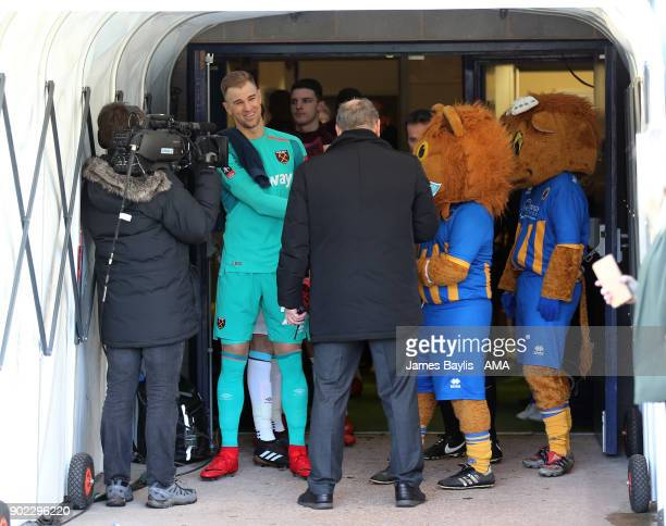Joe Hart of West Ham United waits in the tunnel before The Emirates FA Cup Third Round between Shrewsbury Town and West Ham United at New Meadow on...