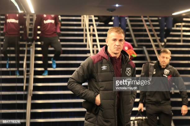 Joe Hart of West Ham United walks out to warm up prior to the Premier League match between Manchester City and West Ham United at Etihad Stadium on...