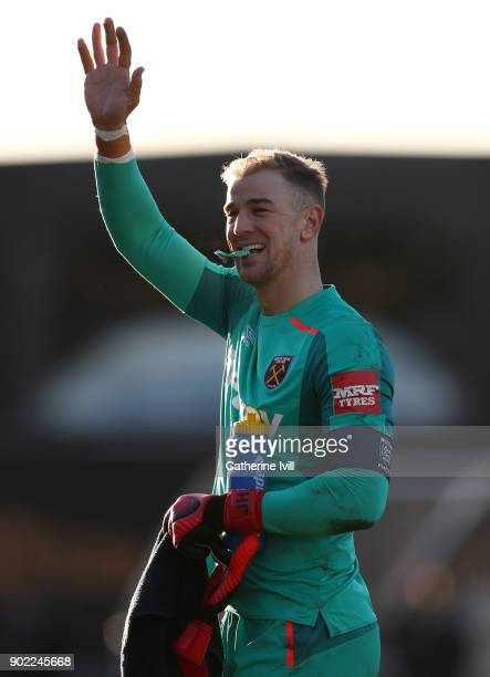 Joe Hart of West Ham United waves during the Emirates FA Cup Third Round match between Shrewsbury Town and West Ham United at New Meadow on January 7...
