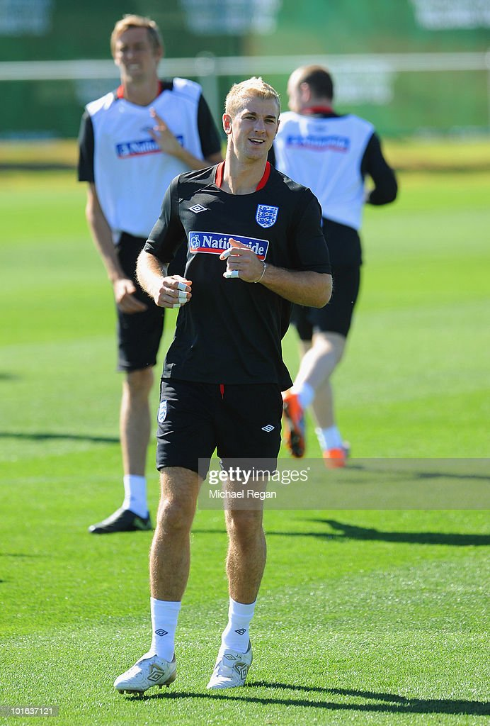 Joe Hart warms up during the England training session at the Royal Bafokeng Sports Campus on June 5, 2010 in Rustenburg, South Africa.