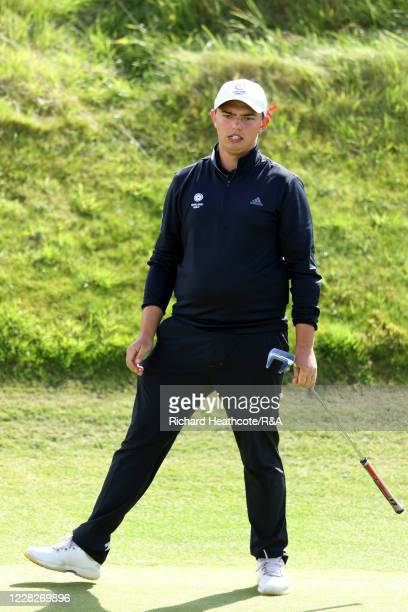 Joe Harvey of England reacts to a missed putt on the 10th hole in the afternoon round during the Final on Day Six of the Amateur Championship at...