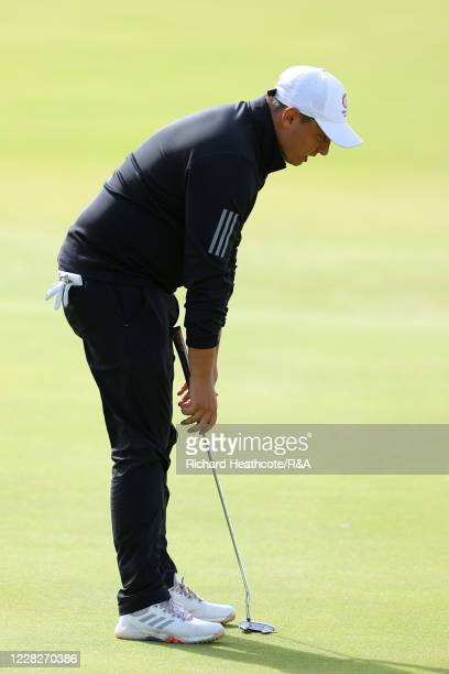 Joe Harvey of England reacts to a missed putt on the 13th hole in the afternoon round during the Final on Day Six of the Amateur Championship at...