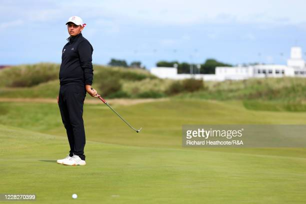 Joe Harvey of England reacts to a missed putt on the 15th hole in the afternoon round during the Final on Day Six of the Amateur Championship at...