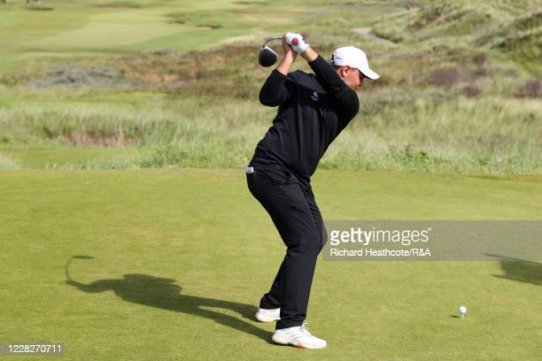 Joe Harvey of England tees off on the 13th hole in the afternoon round during the Final on Day Six of the Amateur Championship at Royal Birkdale on...