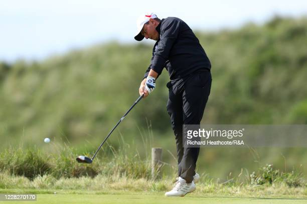 Joe Harvey of England tees off on the 8th hole in the afternoon round during the Final on Day Six of the Amateur Championship at Royal Birkdale on...