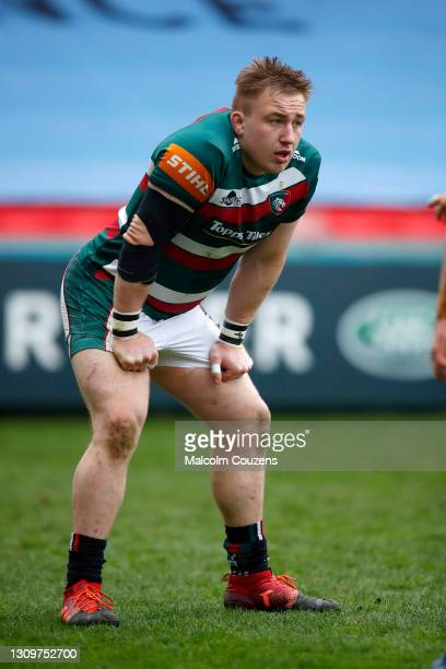 Joe Heyes of Leicester Tigers looks on during the Gallagher Premiership Rugby match between Leicester Tigers and Newcastle Falcons at Welford Road on...