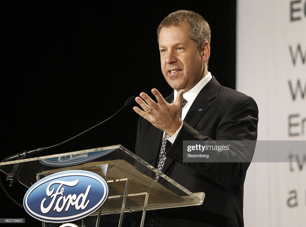 Joe Hinrichs, president of the Americas for Ford Motor Co., speaks during an event at the company's Cleveland Engine Plant in Brook Park, Ohio, U.S., on Thursday, Feb. 21, 2013. Ford Motor Co. said it will invest $200 million to make four-cylinder engines at the plant starting in late 2014 as the second-largest U.S. automaker equips an increasing number of models with smaller, more fuel-efficient powertrains. Photographer: David Maxwell/Bloomberg via Getty Images