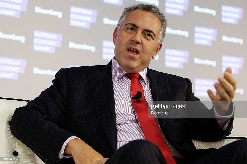 Joe Hockey, Australia's opposition Treasury spokesman, gestures as he speaks during the Bloomberg Australia Economic Summit in Sydney, Australia, on Wednesday, April 10, 2013. Hockey intends to ask the Australian Office of Financial Management to extend the maturity of the nation's sovereign bonds should his party form government following a September election. Photographer: Brendon Thorne/Bloomberg via Getty Images