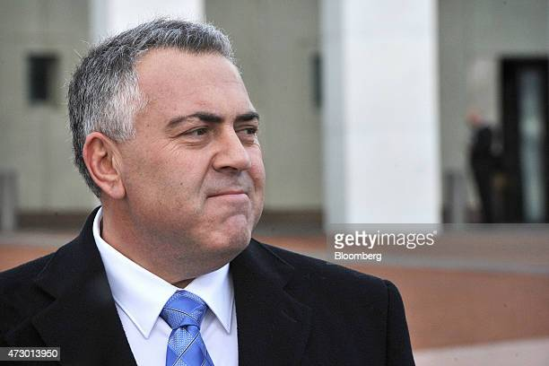Joe Hockey Australia's treasurer attends a news conference outside Parliament House ahead of delivering the Australian federal budget in Canberra...