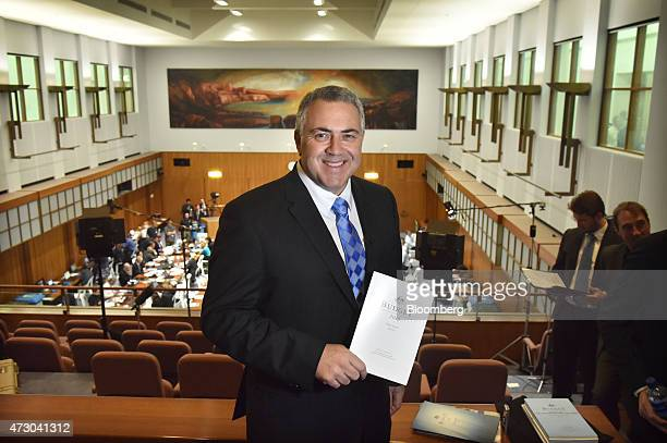 Joe Hockey Australia's treasurer poses for a photograph inside the budget lockup at Parliament House in Canberra Australia on Tuesday May 12 2015...
