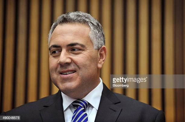 Joe Hockey Australia's treasurer stands for a photograph while in the budget lockup at Parliament House in Canberra Australia on Tuesday May 13 2014...