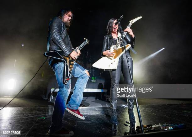 Joe Hottinger and Lzzy Hale of Halestorm performs during Riff Fest at DTE Energy Music Theater on September 29 2017 in Clarkston Michigan