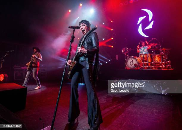 Joe Hottinger Lzzy Hale and Arejay Hale of Halestorm perform at The Fillmore Detroit on November 27 2018 in Detroit Michigan
