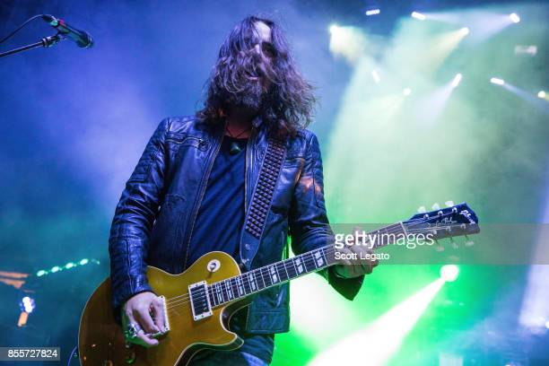 Joe Hottinger of Halestorm performs during Riff Fest at DTE Energy Music Theater on September 29 2017 in Clarkston Michigan