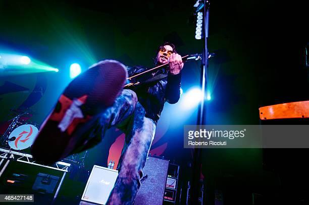 Joe Hottinger of Halestorm performs on stage at Barrowlands Ballroom on March 6, 2015 in Glasgow, United Kingdom.