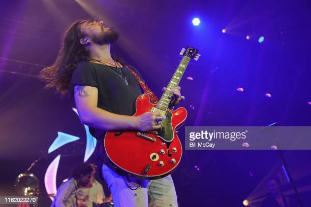 Joe Hottinger of the band Halestorm performs at the BBT Pavilion August 16 2019 in Camden New Jersey