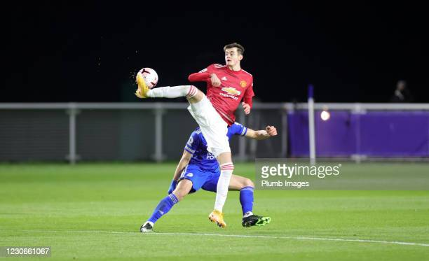 Joe Hugill of Manchester United during the Premier League 2 match between Leicester City and Manchester United at Leicester City Training Ground, on...