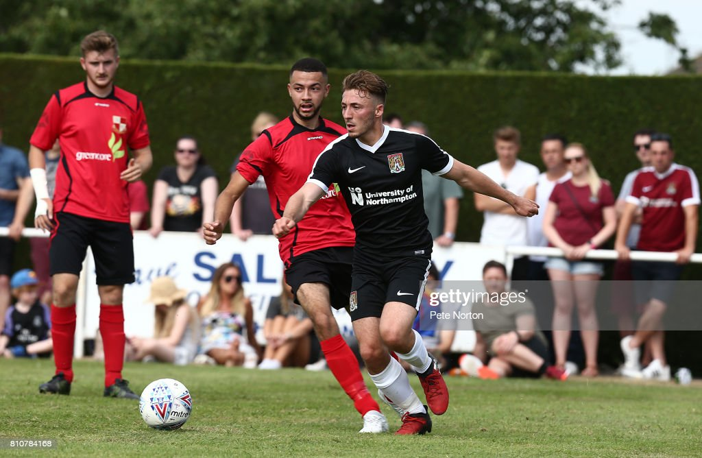 Joe Iaciofano of Northampton Town looks to paly the ball during the Pre-Season Friendly match between Sileby Rangers v Northampton Town at Fernie Fields on July 8, 2017 in Northampton, England.