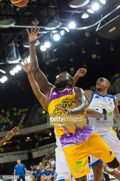 Joe Ikhinmwin of London Lions in action during the British Basketball League match between London Lions and Cheshire Phoenix at Copper Box Arena on...