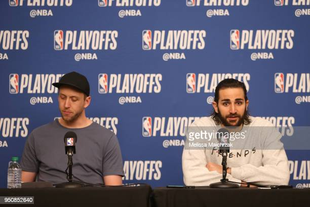 Joe Ingles and Ricky Rubio of the Utah Jazz talks to the media following Game Three of Round One of the 2018 NBA Playoffs against the Oklahoma City...