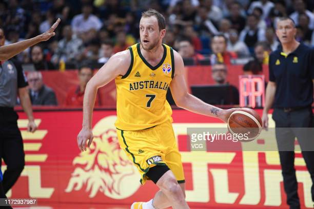 Joe Ingles of Australia controls the ball during FIBA World Cup 2019 Group L match between Australia and Dominican Republic at Nanjing Gymnasium of...