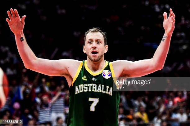 Joe Ingles of Australia reacts during the 3rd place games between France and Australia of 2019 FIBA World Cup at the Cadillac Arena on September 15,...