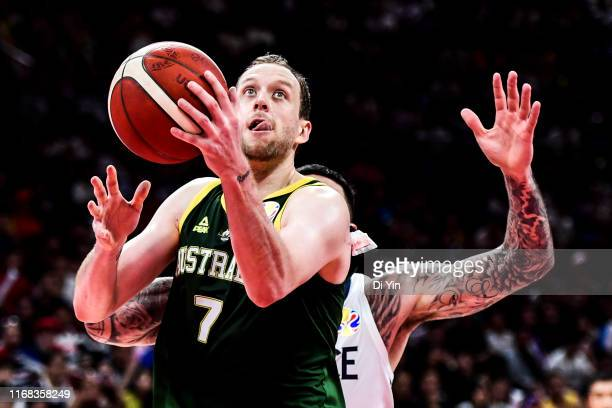 Joe Ingles of Australia shoots during the 3rd place games between France and Australia of 2019 FIBA World Cup at the Cadillac Arena on September 15...
