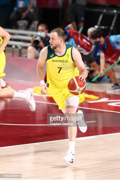 Joe Ingles of the Australia Men's National Team dribbles the ball during the game against the Germany Men's National Team during the 2020 Tokyo...
