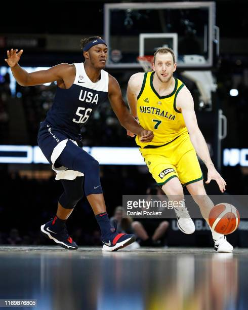 Joe Ingles of the Boomers runs with the ball during game two of the International Basketball series between the Australian Boomers and United States...