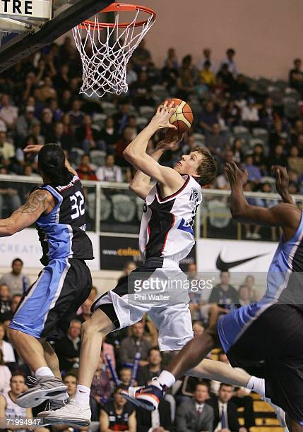 Joe Ingles of the South Dragons lays up the ball during the round two NBL match between the New Zealand Breakers and the South Dragons at the North...