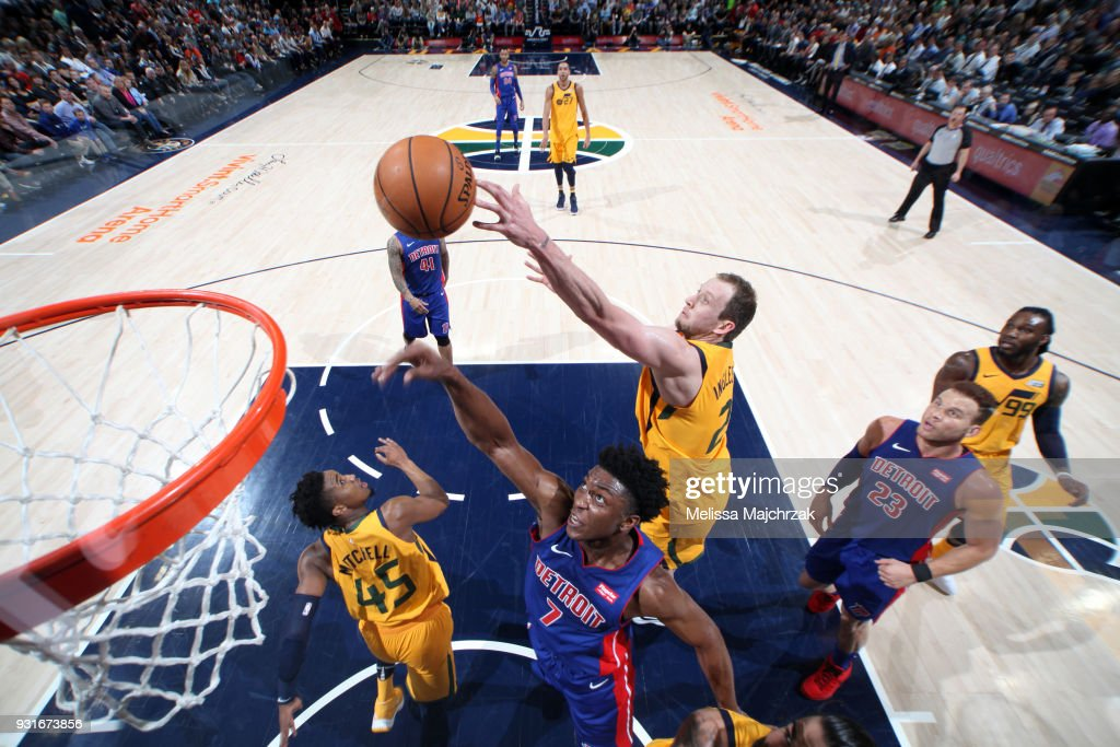 Joe Ingles #2 of the Utah Jazz and Stanley Johnson #7 of the Detroit Pistons jump for the rebound on March 13, 2018 at vivint.SmartHome Arena in Salt Lake City, Utah.