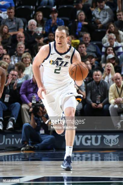 Joe Ingles of the Utah Jazz brings the ball up court against the Oklahoma City Thunder on October 21 2017 at vivintSmartHome Arena in Salt Lake City...