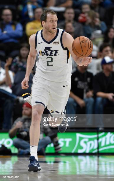 Joe Ingles of the Utah Jazz brings the ball up court during their game against the Sydney Kings at Vivint Smart Home Arena on October 2 2017 in Salt...