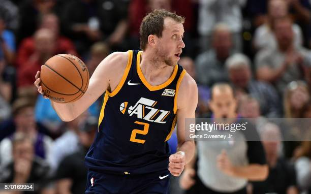 Joe Ingles of the Utah Jazz controls the ball during their game against the Portland Trail Blazers at Vivint Smart Home Arena on November 01 2017 in...