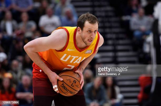 Joe Ingles of the Utah Jazz controls the ball in the first half of a NBA game against the San Antonio Spurs at Vivint Smart Home Arena on February 09...
