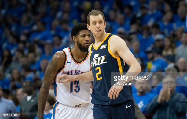Joe Ingles of the Utah Jazz defends against Paul George of the Oklahoma City Thunder during the second half of Game 1 of the NBA Western Conference...