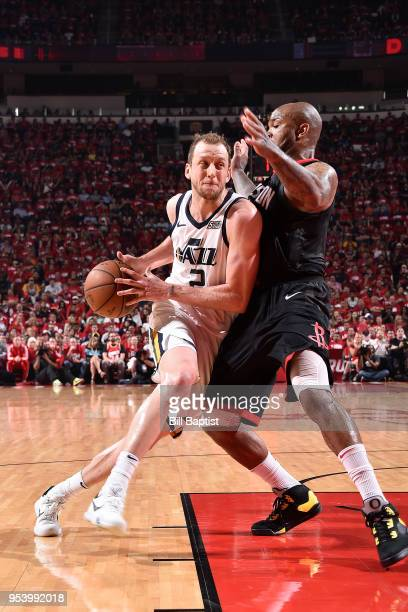 Joe Ingles of the Utah Jazz drives to the basket against the Houston Rockets in Game Two of Round Two of the 2018 NBA Playoffs on May 2 2018 at the...