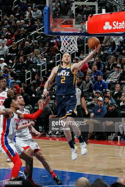 Joe Ingles of the Utah Jazz drives to the basket during the game against the Detroit Pistons on March 7 2020 at Little Caesars Arena in Detroit...