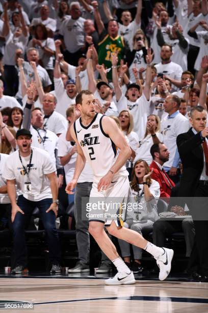 Joe Ingles of the Utah Jazz during the game against the Oklahoma City Thunder in Game Four of Round One of the 2018 NBA Playoffs on April 23 2018 at...