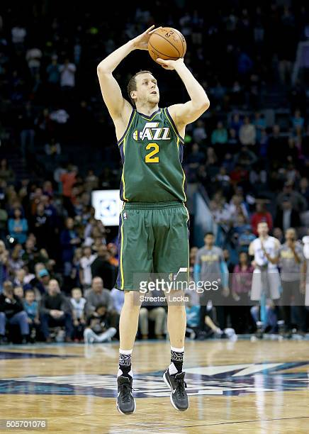 Joe Ingles of the Utah Jazz during their game at Time Warner Cable Arena on January 18 2016 in Charlotte North Carolina NOTE TO USER User expressly...