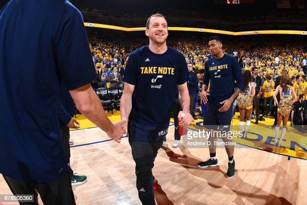 Joe Ingles of the Utah Jazz gets introduced in the starting line up before the game against the Golden State Warriors during Game Two of the Western...