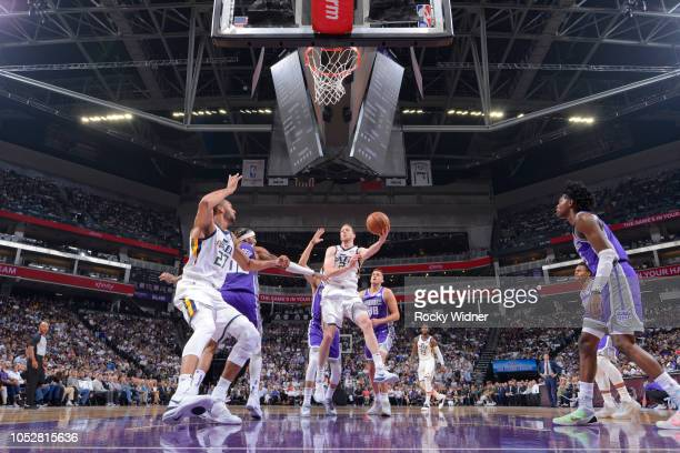 Joe Ingles of the Utah Jazz goes up for the shot against the Sacramento Kings on October 17 2018 at Golden 1 Center in Sacramento California NOTE TO...