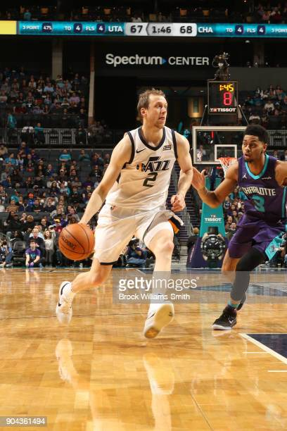 Joe Ingles of the Utah Jazz handles the ball against the Charlotte Hornets on January 12 2018 at Spectrum Center in Charlotte North Carolina NOTE TO...