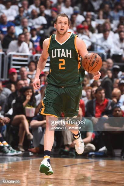 Joe Ingles of the Utah Jazz handles the ball against the LA Clippers in Game Five of the Western Conference Quarterfinals of the 2017 NBA Playoffs on...