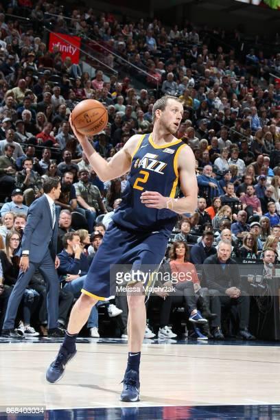 Joe Ingles of the Utah Jazz handles the ball against the Dallas Mavericks on October 30 2017 at Vivint Smart Home Arena in Salt Lake City Utah NOTE...