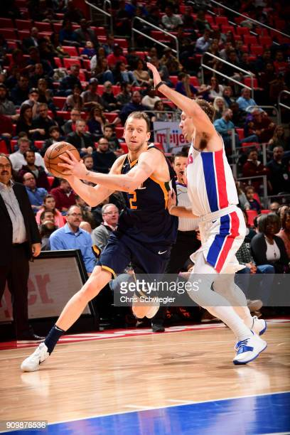 Joe Ingles of the Utah Jazz handles the ball against the Detroit Pistons on January 24 2018 at Little Caesars Arena in Detroit Michigan NOTE TO USER...