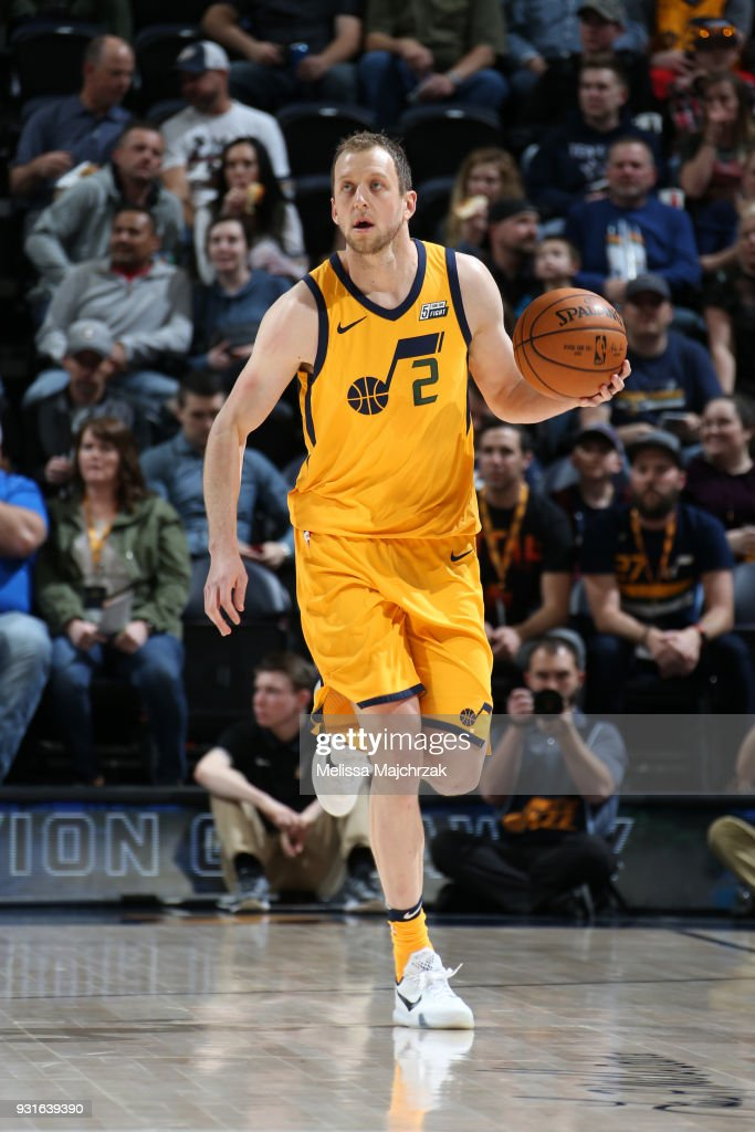 Joe Ingles #2 of the Utah Jazz handles the ball against the Detroit Pistons on March 13, 2018 at vivint.SmartHome Arena in Salt Lake City, Utah.